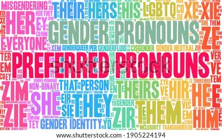Preferred Pronouns on a white background.  Zdjęcia stock ©