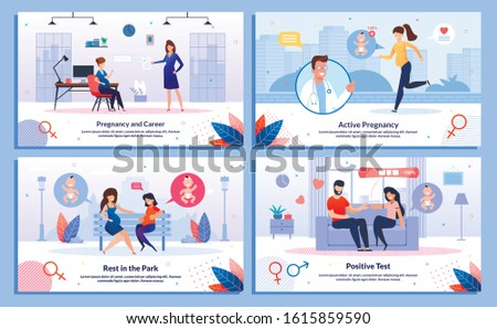 Pregnancy and Career, Pregnant Woman Leisure and Active Life, Test Positive Reaction Trendy Flat Vector Banner, Poster Set. Woman Works in Office, Jogging, Telling Husband About Pregnancy Illustration