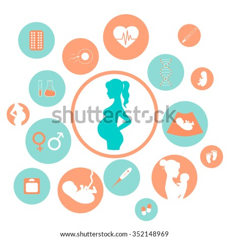 Pregnancy and newborn baby icons set. Childbirth and motherhood. Medicine and pregnancy vector icons set. Baby care, mother birth illustration.