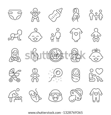Pregnancy and newborn baby icons set. Line style
