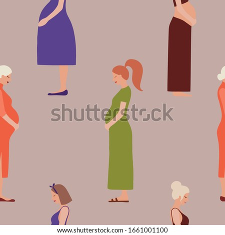 Pregnancy motherhood people expectation seamless pattern background pregnant woman character life with big belly vector illustration