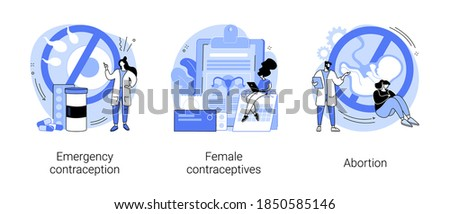 Pregnancy planning abstract concept vector illustration set. Emergency contraception, female contraceptives, abortion, oral hormonal pill, fertility control, ultrasound diagnostic abstract metaphor. Stockfoto ©