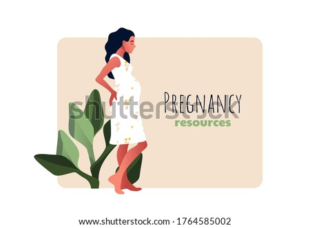 Pregnancy resources type. Sad pregnant female character. Slim pregnant woman. Sad pregnant female character. Problem pregnancy. Flat cartoon vector illustration