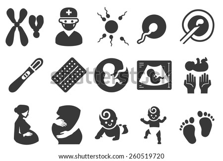Pregnancy vector illustration icon set. Included the icons as pregnant, woman, embryo, born, baby, birth control pills and more.