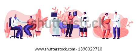 Pregnant Female Characters at Doctor Appointment. Medical Check Up, Ultrasound, Measuring Belly, Listening Baby Heart. Healthy Pregnancy, Women Waiting Newborn Baby. Cartoon Flat Vector Illustration