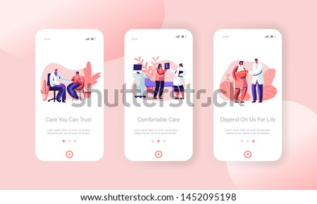 Pregnant Woman at Doctor Appointment in Clinic Mobile App Page Onboard Screen Set Medical Check Up, Pregnancy, Ultrasound, Maternity Concept for Website or Web Page, Cartoon Flat Vector Illustration