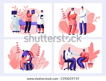 Pregnant Woman at Doctor Appointment in Clinic Set. Male Doctor Character Doing Medical Check Up. Healthy Pregnancy, Health Care, Ultrasound, Girl Invalid, Maternity. Cartoon Flat Vector Illustration
