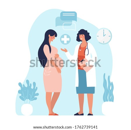 Pregnant woman at the doctor s appointment. A woman expecting a baby visits a doctor s office, examination during pregnancy. Flat vector illustration in cartoon design.