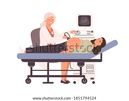Pregnant woman at ultrasound examination. Doctor checkup and monitoring patient health with ultrasonic imaging device. Prenatal care. Flat vector cartoon illustration isolated on white background