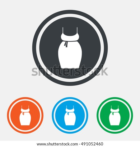 Pregnant woman dress sign icon. Maternity clothing symbol Graphic design web element. Flat maternity dress symbol on the round button. Vector