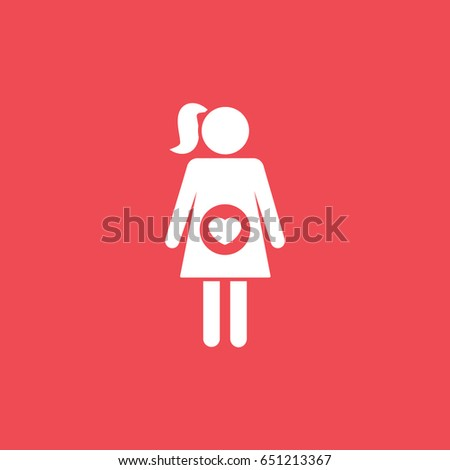 Pregnant Woman Flat Icon On Red Background #651213367