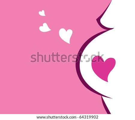 Pregnant woman icon with heart (pink). Vector Illustration.