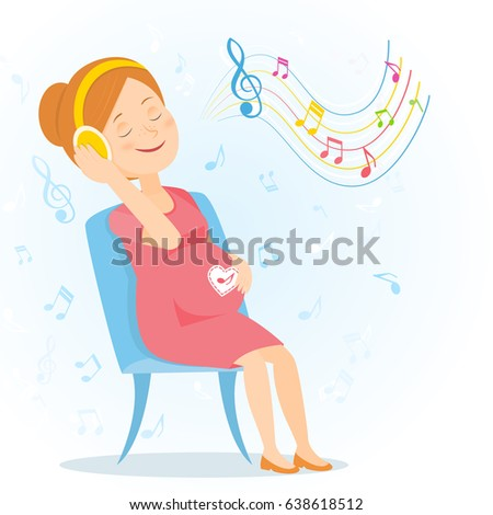 pregnant woman listens to music