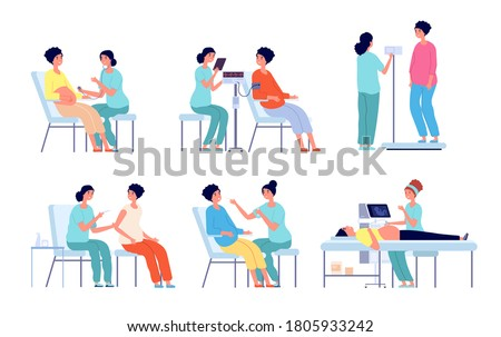 Pregnant woman medical check up. Pregnancy care clinic, belly ultrasound doctor. Isolated prenatal woman examination in hospital vector set