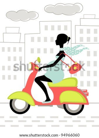 Pregnant woman riding scooter in the city