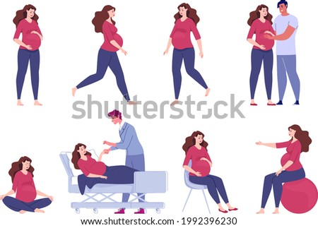 Pregnant woman. Seeing a doctor, walking, exercise with a ball, meditation, sitting relaxation. A loving husband hugs his pregnant wife and holds his hand on his stomach. Vector. illustration. Stock photo ©