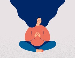 Pregnant woman sits cross-legged on the floor and meditates with closed eyes. Girl makes morning yoga, relaxes at home or breathing exercises. Body positive and health care concept. Vector