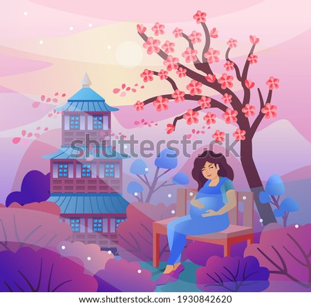 pregnant woman sits on a bench
