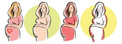 pregnant woman symbol, stylized vector sketch. vector illustration.