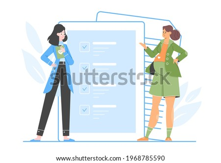 Pregnant womanand doctor obstetrician gynecologist. Conclusion of a contract for the provision of medical services. Hospital pregnancy management. Caring for the health of mother and child. Vector fla Stok fotoğraf ©