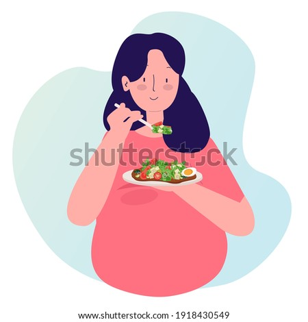 pregnant women eating healthy food salad with cartoon flat style vector design illustration