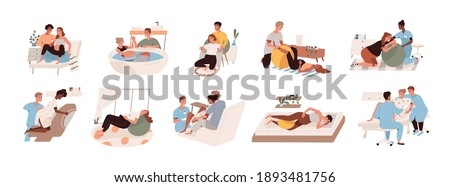 Pregnant women preparing for childbirth at hospital with obstetricians and at home with partner or doula. Female during child delivery. Set of birthing positions flat vector illustration on white