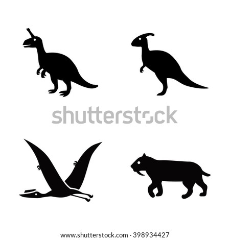 prehistoric animals vector icons
