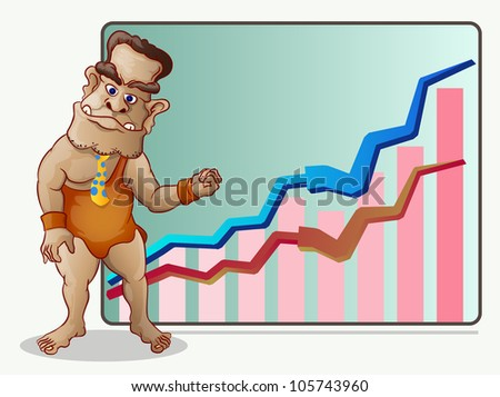 prehistoric business man standing in front of growing chart and arrow