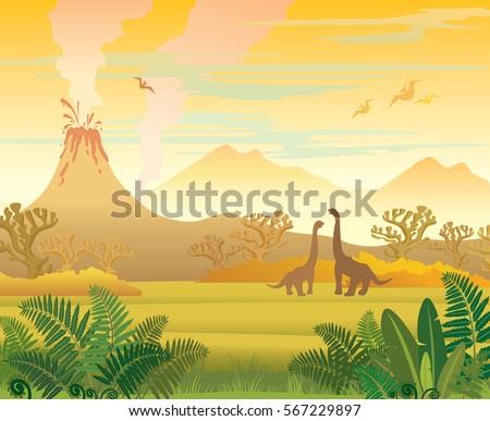 prehistoric landscape   volcano