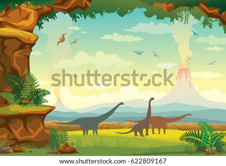 prehistoric landscape with