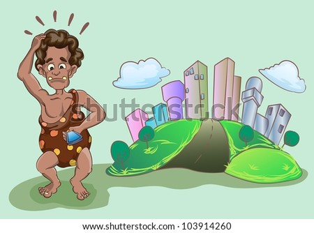 prehistoric man standing and confused by hand phone in front of the big city view - stock vector