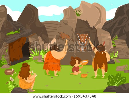 Prehistoric people drawing on rock, stone age cavemen and cute child in primitive tribe, vector illustration. Savage man cartoon character, primitive artist painting skill. History of human evolution ストックフォト ©