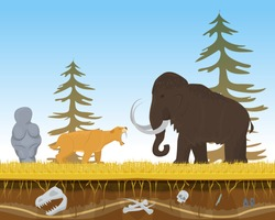 Prehistoric tiger attack ancient mammoth, character animal bite flat vector illustration. Wildlife nature beast predator and herbivorous. Natural forest old times place, vegetarian cattle defense.