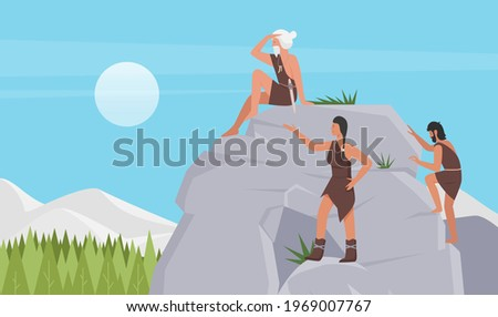 Prehistory tribe of stone age people, vector illustration. Cartoon tribesman, caveman characters climbing rock, primitive man sitting on stone cave, cute ancient primal woman in animal skin background Stock photo ©