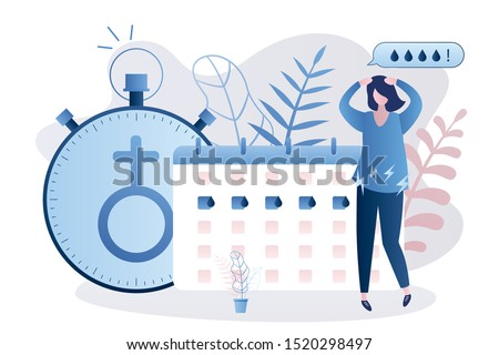 Premenstrual syndrome concept. Healthcare banner. Unhappy woman, calendar menstrual cycle menstruation. Menstrual cycle planner and watch with female sign. Vector illustration