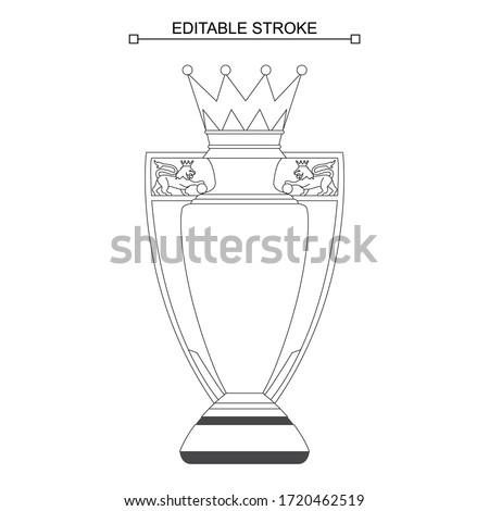 Premier League Trophy, Cup, Editable Stroke