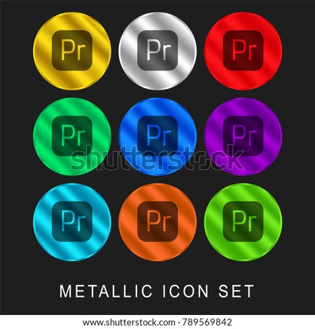 Premiere 9 color metallic chromium icon or logo set including gold and silver