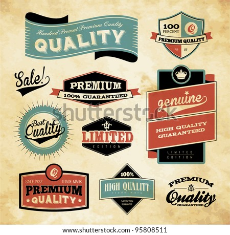 Premium and High Quality Label / Icon - stock vector