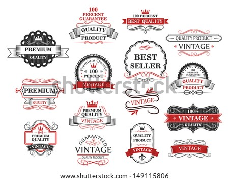 Premium and quality banners set in retro style