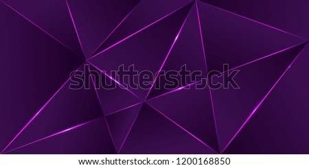 Premium background, luxury dark polygonal pattern and purple triangle lines. Low poly gradient shapes luxury shining lines vector. Party poster rich background, premium ultra violet triangles design.