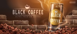 Premium black coffee beans ad design in 3d illustration with roasted coffee beans by a wall