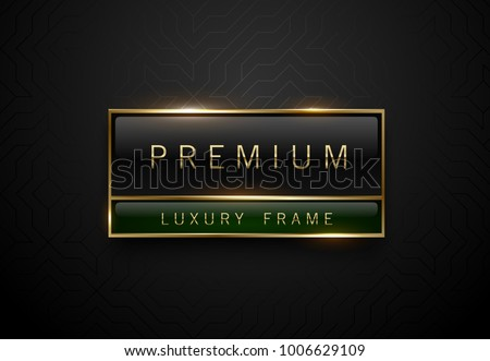 Premium black green label with golden frame on black geometric background. Dark luxury logo template. Vector illustration
