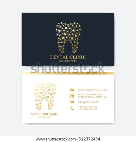 Premium Business Card Print Template. Visiting Dental Clinic Card with Tooth Logo. Dentist Office Oral Care. Dental Implants. Medical Design Golden Tooth Logo