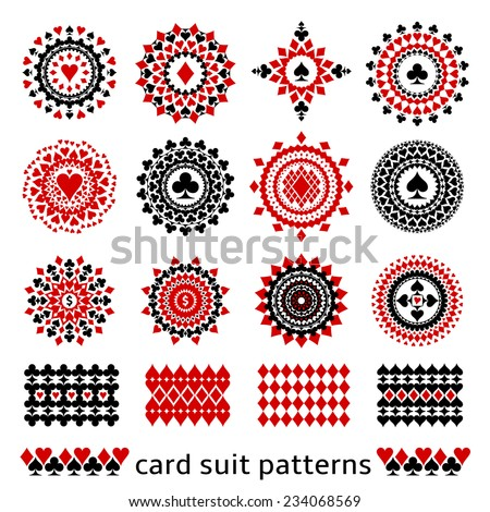 Premium card suit patterns in one set. Casino gambling illustrations for decor or background.
