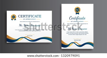 Premium certificate of achievement template, gold and blue color. Clean modern certificate with gold badge. Certificate template with luxury and modern pattern. Diploma vector template