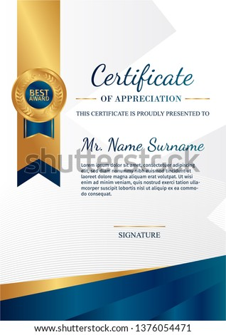 Premium certificate of achievement template, gold and blue color. Clean modern certificate with gold badge. Certificate border template with luxury and modern line pattern. Diploma vector template