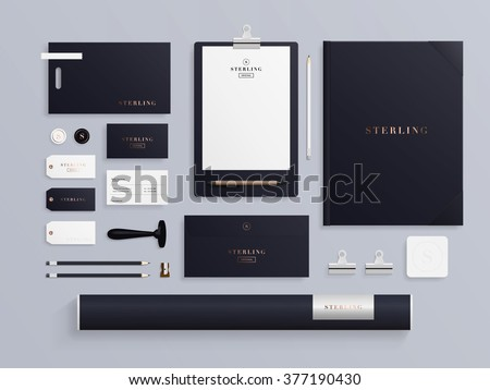 premium corporate identity template set business stationery mock up with logo sample set