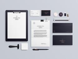 Premium corporate identity template set. Business stationery mock-up with logo template. Set of envelope, card, folder, etc. Vector illustration.