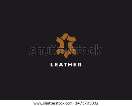 Premium creative leather logo design. Genuine leather vector logotype. Leather icon.
