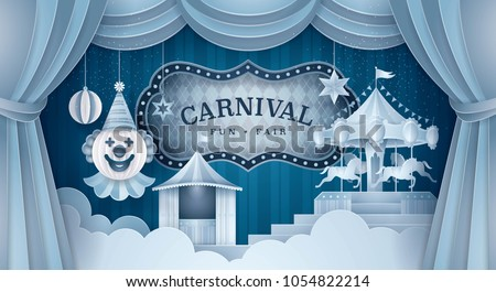 Premium Curtains stage with Circus Frame Border, Cloud and Hanging Happy Clown, Party hat, ball, Fun Fair, Carousels, Fairground, Day Scene festival, Paper art vector and illustration